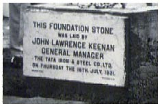 Foundation Stone of Tata Steel